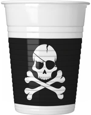 Sæt af 8 sort pirat kopper