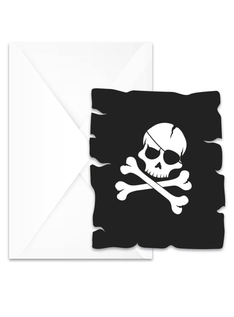 Set of 6 Pirates Black invitations