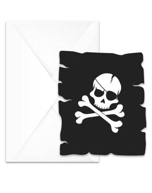 Sæt af 6 sort pirat invitationer