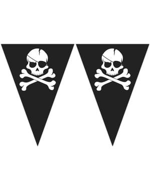 Pirates Black Wimpel-Girlande mit Dreiecken