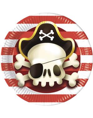 Set van 8 grote Machtige Piraten borden