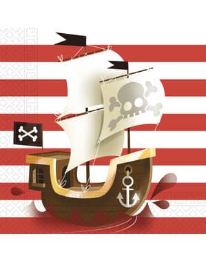 Sett med 20 Kraftige Pirat servietter
