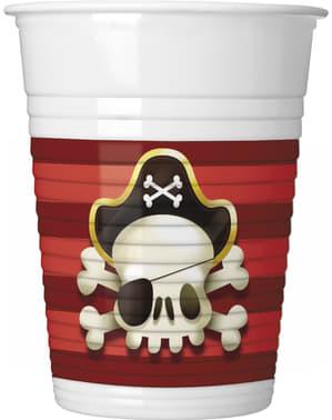Sæt af 8 pirat kopper