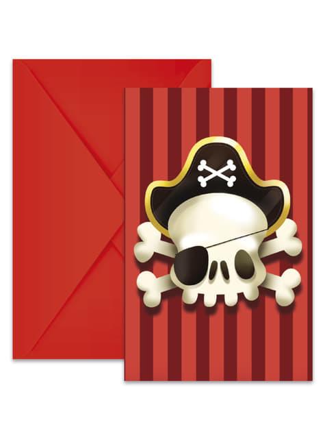 6 invitaciones Powerful Pirates