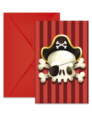 Sæt af 6 pirat invitationer