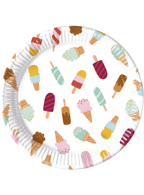 Set of 8 big Ice Cream Passion plates