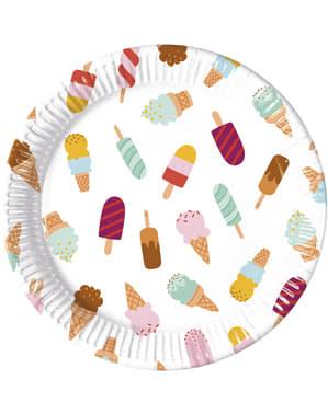 Sada 8 velkých talířů Zmrzlinová vášeň