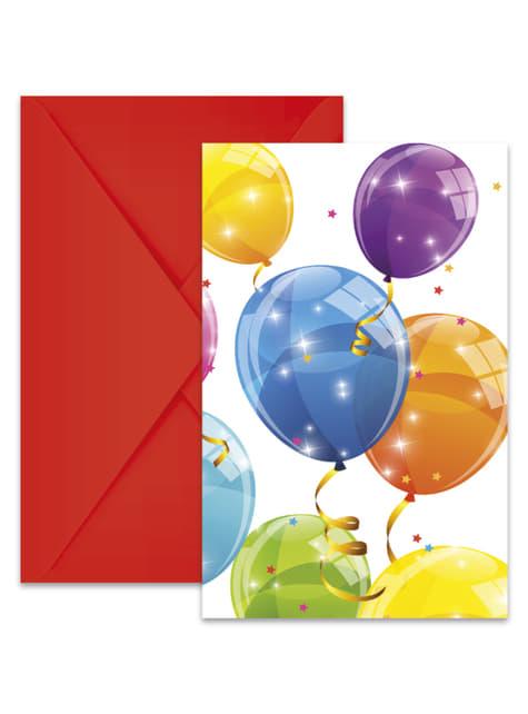 6 invitaciones Sparkling Balloons