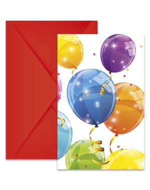6 invitations Sparkling Balloons
