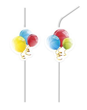 6 Sparkling Balloons straws