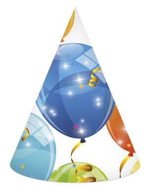 6 Glinsterende Ballonnen hoedjes