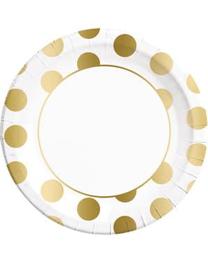 8 grandes assiettes Dots Collection dorées