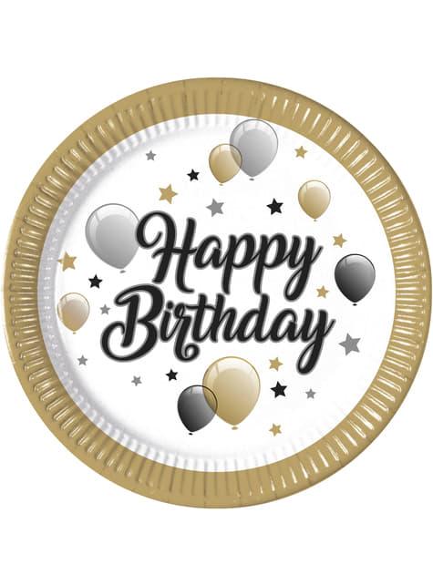 8 platos de globos Happy Birthday (23 cm)