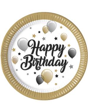 8 piatti grandi con palloncini Happy Birthday (23 cm)
