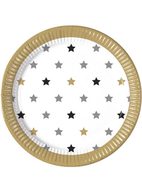 8 platos de estrellas multicolor (23 cm)