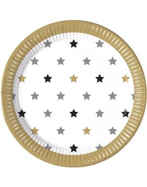 8 pratos grandes de estrelas multicolor (23 cm)