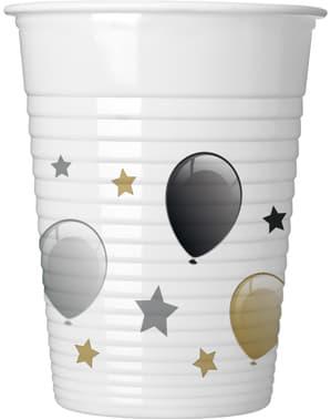 8 vasos de globos cumpleaños