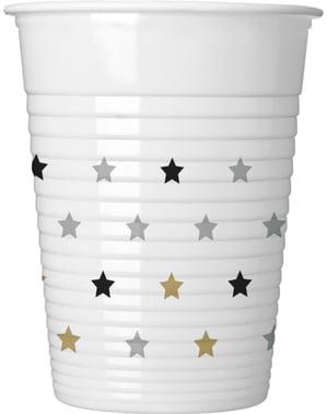 8 pahare de aniversare cu steluțe