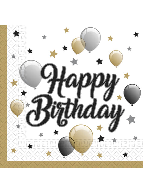 20 servilletas de globos cumpleaños (33x33 cm)