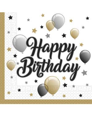 20 Serviettes en papier ballons anniversaire