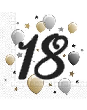 Sett med 20 18. År bursdagsservietter