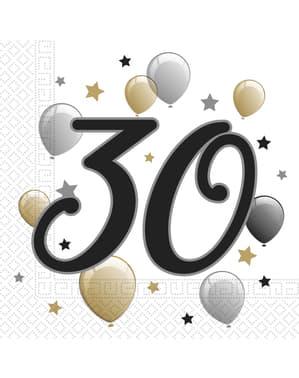 20 servetter 30 födelsedag (33x33 cm)