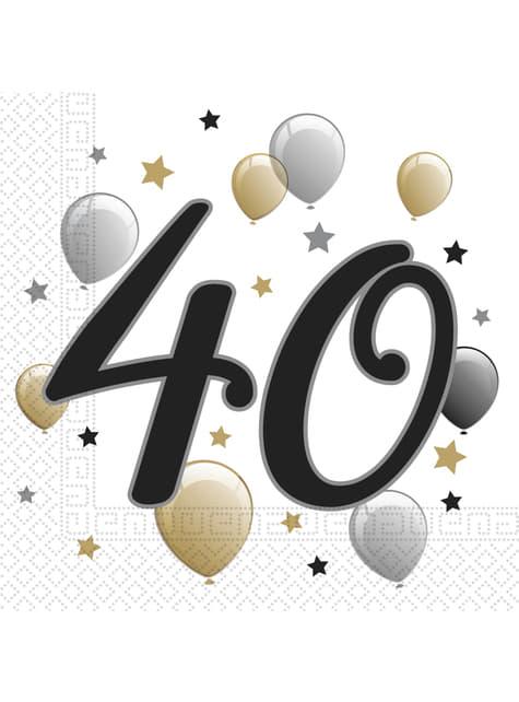 20 Serviettes en papier 40 anniversaire