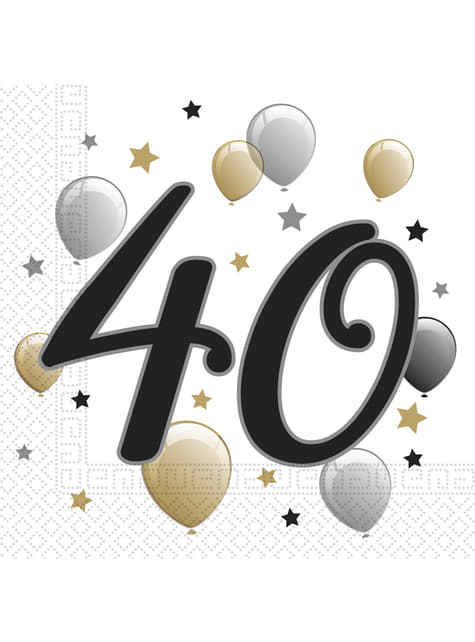 20 guardanapos 40 aniversário (33x33 cm)