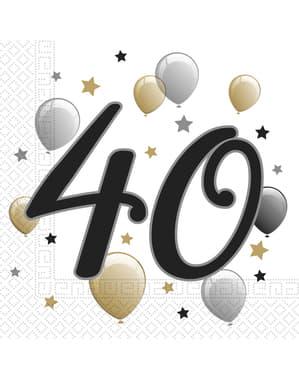 20 servetter 40 födelsedag (33x33 cm)