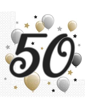 Sæt af 2 50 års fødselsdags servietter