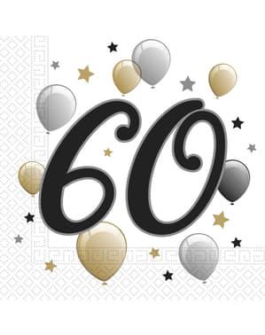 20 Serviettes en papier anniversaire 60 ans