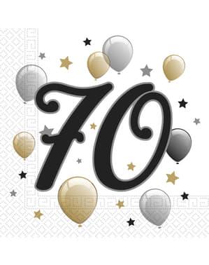 20 Serviettes en papier anniversaire 70 ans