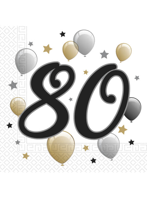 20 servilletas 80 cumpleaños (33x33 cm)