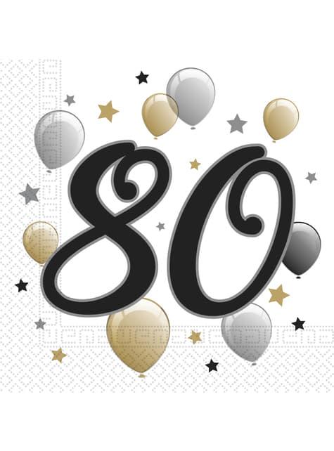 20 guardanapos 80 aniversário (33x33 cm)