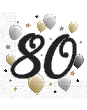 20 Serviettes en papier anniversaire 80 ans