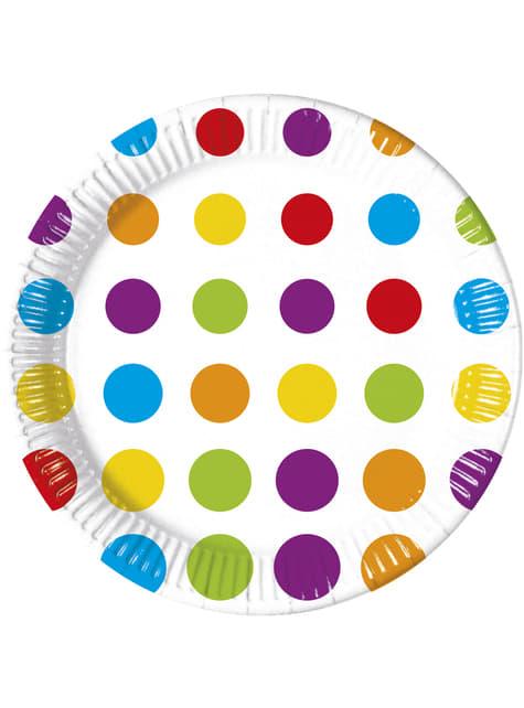 8 big Color Dots plates (23 cm)