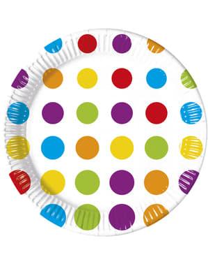 8 platos Color Dots (23 cm)