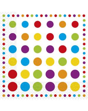 20 Gekleurde Stippen servetten (33x33 cm)