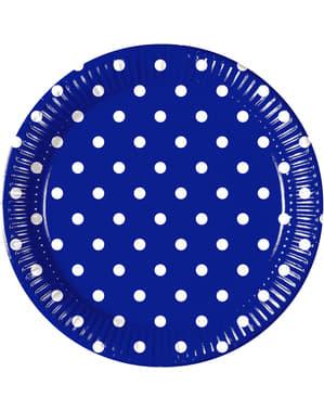 8 platos Blue Royal Dots (23 cm)