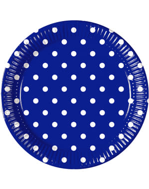 8 grote Gestipte Blauw Royale borden (23 cm)