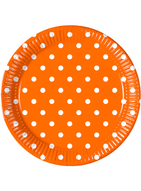 Set of 8 Orange Dots plates