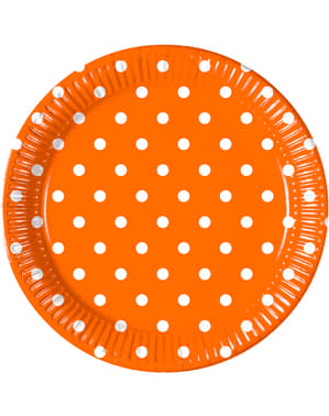 8 assiettes Orange Dots