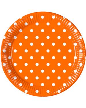 Zestaw 8 talerzy Orange Dots