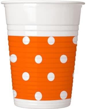 8 Oranje Gestipte bekers