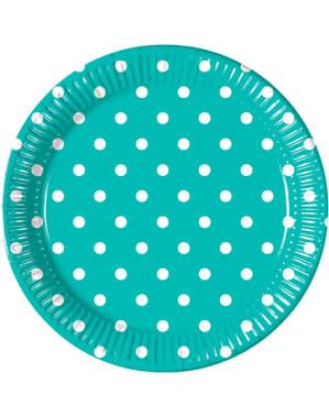 8 Turquoise Gestipte borden (23 cm)
