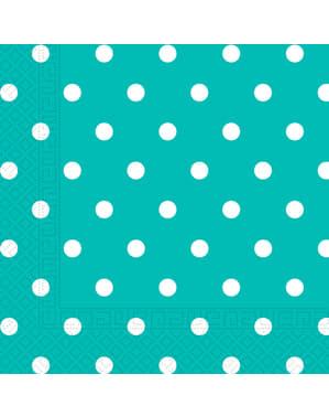 20 Turquoise Stippen servetten (33x33 cm)