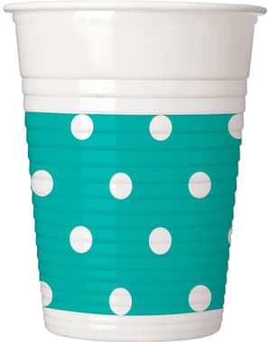 8 Turquoise bekers