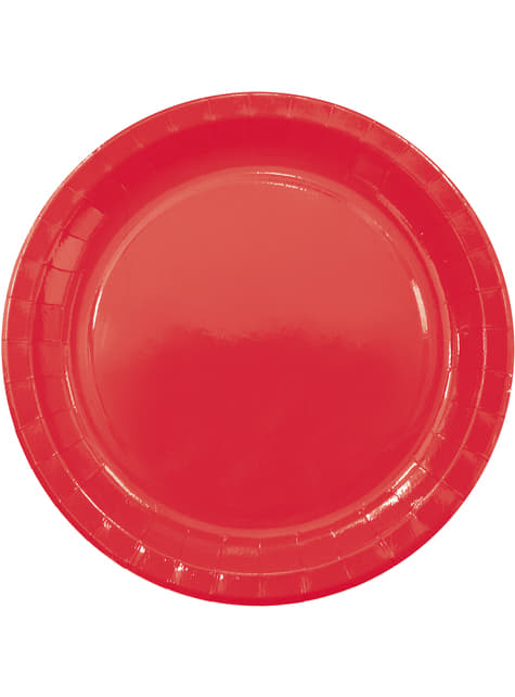 8 grandes assiettes Red Solid