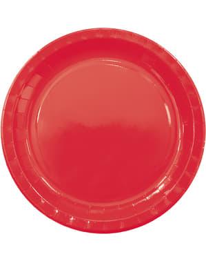 8 pratos grandes Red Solid (23 cm)