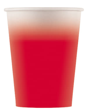 8 vasos rojos degradado - Línea Colores Básicos